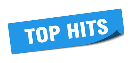top hits sticker. top hits square isolated sign. top hits label