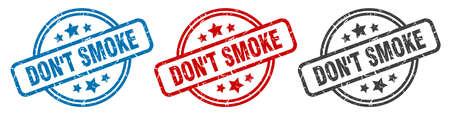 don't smoke stamp. don't smoke round isolated sign. don't smoke label set