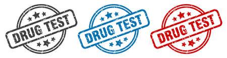 drug test stamp. drug test round isolated sign. drug test label set