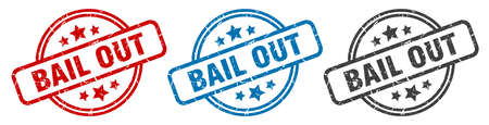 bail out stamp. bail out round isolated sign. bail out label set