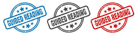 guided reading stamp. guided reading round isolated sign. guided reading label set