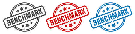 benchmark stamp. benchmark round isolated sign. benchmark label set Illustration