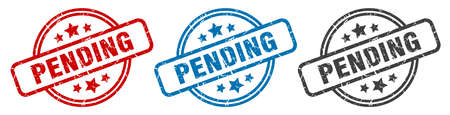 pending stamp. pending round isolated sign. pending label set Vectores