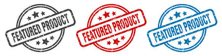 featured product stamp. featured product round isolated sign. featured product label set