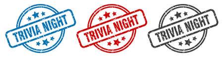 trivia night stamp. trivia night round isolated sign. trivia night label set