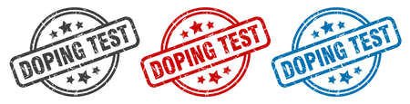 doping test stamp. doping test round isolated sign. doping test label set