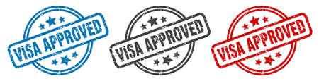 visa approved stamp. visa approved round isolated sign. visa approved label set Vettoriali