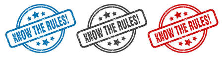 know the rules stamp. know the rules round isolated sign. know the rules label set