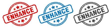 enhance stamp. enhance round isolated sign. enhance label set
