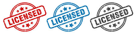 licensed stamp. licensed round isolated sign. licensed label set