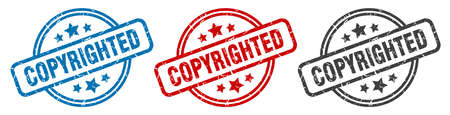 copyrighted stamp. copyrighted round isolated sign. copyrighted label set 向量圖像