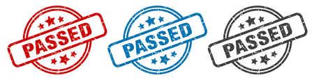 passed stamp. passed round isolated sign. passed label set
