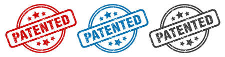 patented stamp. patented round isolated sign. patented label set 向量圖像