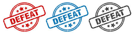 defeat stamp. defeat round isolated sign. defeat label set