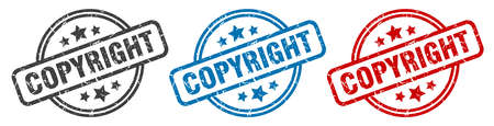 copyright stamp. copyright round isolated sign. copyright label set