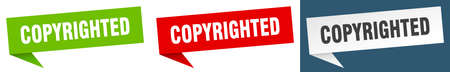copyrighted banner. copyrighted speech bubble label set. copyrighted sign 向量圖像