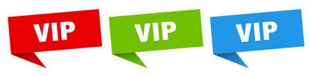 vip banner. vip speech bubble label set. vip sign