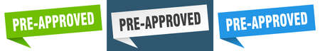 pre-approved banner. pre-approved speech bubble label set. pre-approved sign