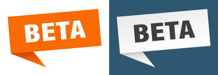 beta banner. beta speech bubble label set. beta sign