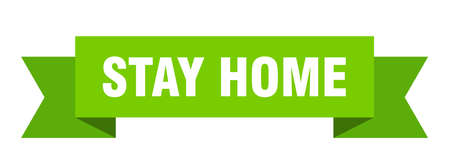 stay home ribbon. stay home isolated band sign. stay home banner  イラスト・ベクター素材