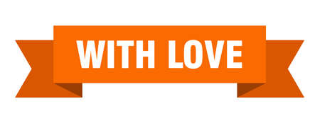 with love ribbon. with love isolated band sign. with love banner 일러스트