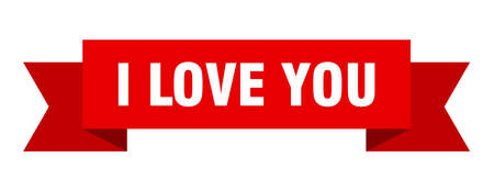 i love you ribbon. i love you isolated band sign. i love you banner 일러스트