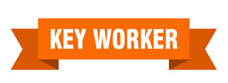 key worker ribbon. key worker isolated band sign. key worker banner