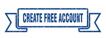 create free account ribbon. create free account grunge band sign. create free account banner Иллюстрация