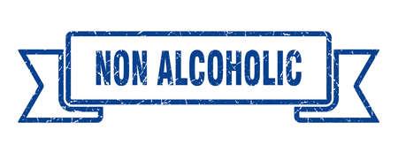 non alcoholic ribbon. non alcoholic grunge band sign. non alcoholic banner Иллюстрация