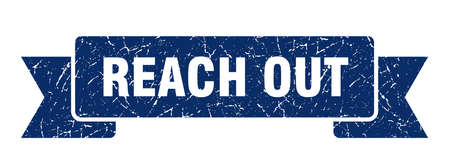 reach out ribbon. reach out grunge band sign. reach out banner 向量圖像