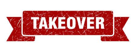 takeover ribbon. takeover grunge band sign. takeover banner 向量圖像