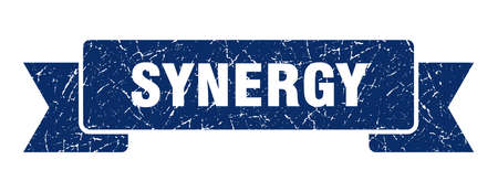synergy ribbon. synergy grunge band sign. synergy banner