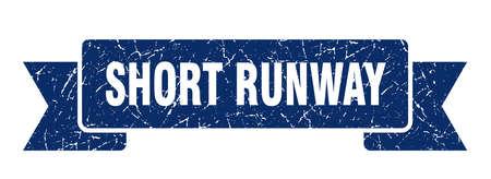 short runway ribbon. short runway grunge band sign. short runway banner