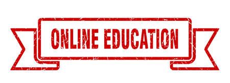 online education ribbon. online education grunge band sign. online education banner