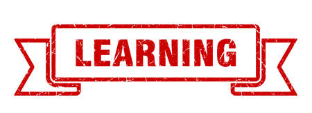 learning ribbon. learning grunge band sign. learning banner