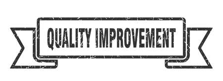 quality improvement ribbon. quality improvement grunge band sign. quality improvement banner