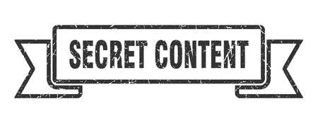 secret content ribbon. secret content grunge band sign. secret content banner