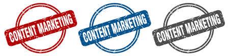 content marketing stamp. content marketing sign. content marketing label set Ilustrace