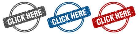 click here stamp. click here sign. click here label set