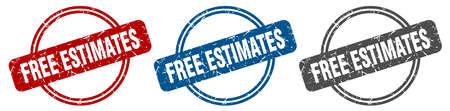 free estimates stamp. free estimates sign. free estimates label set Vettoriali