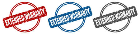 extended warranty stamp. extended warranty sign. extended warranty label set