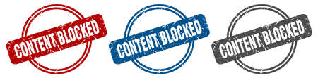 content blocked stamp. content blocked sign. content blocked label set Ilustrace
