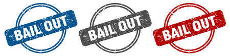 bail out stamp. bail out sign. bail out label set
