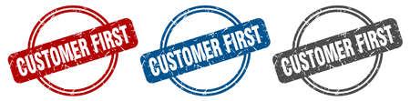 customer first stamp. customer first sign. customer first label set