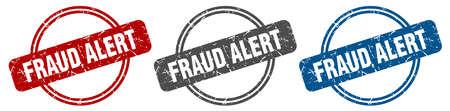 fraud alert stamp. fraud alert sign. fraud alert label set