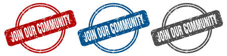 join our community stamp. join our community sign. join our community label set