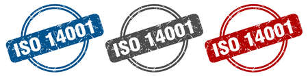 iso 14001 stamp. iso 14001 sign. iso 14001 label set