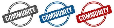 community stamp. community sign. community label set Ilustracja