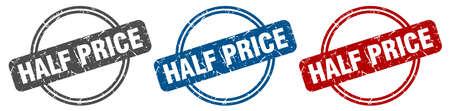 half price stamp. half price sign. half price label set Illustration