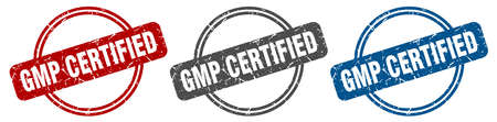 gmp certified stamp. gmp certified sign. gmp certified label set